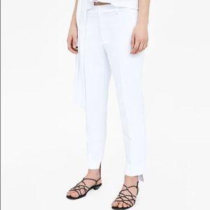 Zara woman asymmetric hem line white pants 10